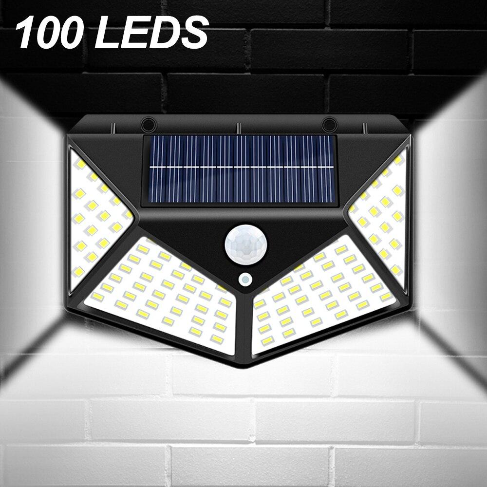 LED Street Light Outdoor Solar Wall Lamp 100 LEDs Solar Porch Light with PIR Motion Sensor Garden Fence Path Way Security Lights