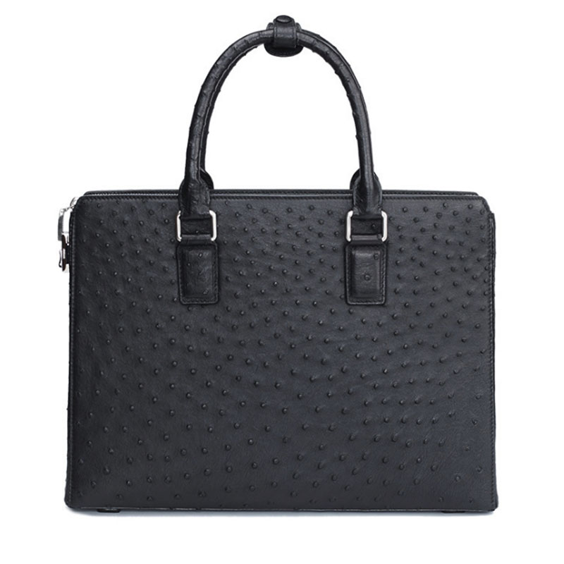 Luxury Real Ostrich Leather Briefcase Men High End Business Mens Document Bag New Laptop Bags For Men Fashion Handbag With Lock