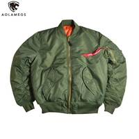 Aolamegs Men Bomber Jacket Thick Winter Military Motorcycle Ma 1 Flight Jacket Pilot Air Force Flying Jackets Baseball Uniform