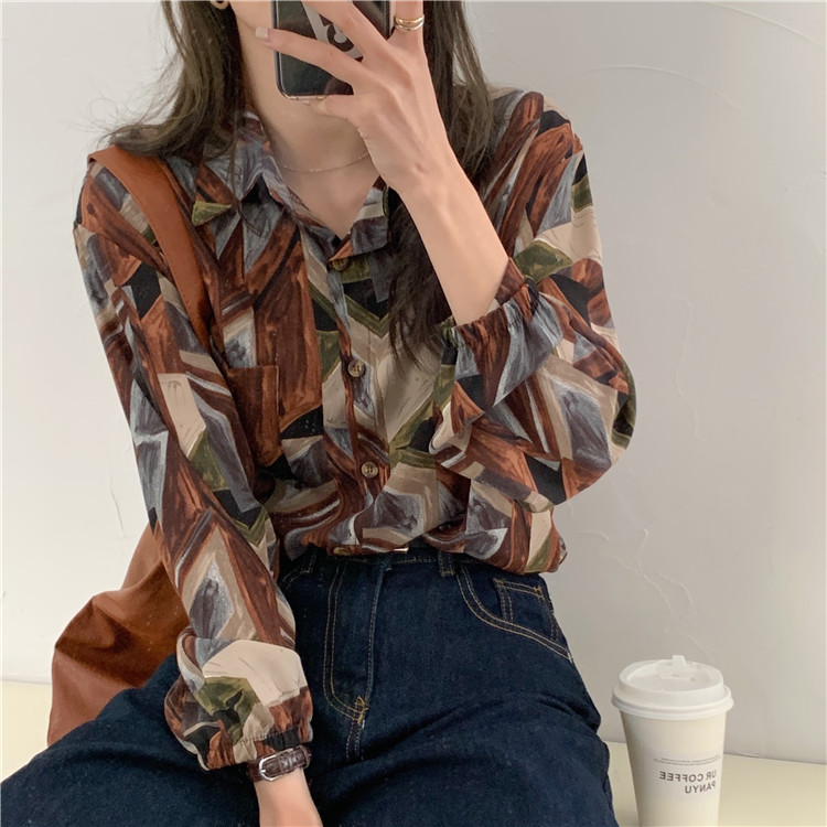 H39a15dd340ae446798dd0f97f9266a64P - Spring / Autumn Turn-Down Collar Long Sleeves Print Buttons Pocket Blouse