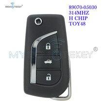 Remtekey 89070-05030 Flip Remote Key Voor Toyota Avensis Prius Rav Verso 3 Knop H Chip 314.4Mhz TOY48 auto Afstandsbediening Flip Auto Sleutel