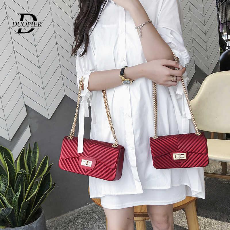 Bolso de diseñador de gelatina de moda 2019 bolso bandolera de hombro de alta calidad de cuero de PVC dulce bandolera bolsos de señora