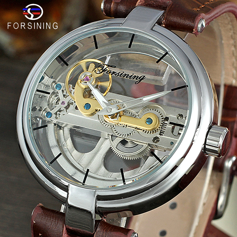 FORSINING Men's High End Vintage Automatic Movement Popular Unique Style Genuine Leather Strap Skeleton Wristwatch Relojes