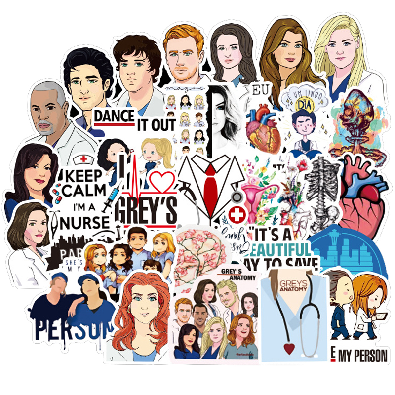 50Pcs TV Show Greys Anatomy Waterproof Stickers Kids Toy Sticker Sticker Car Decor Skateboard Sticker For Phone Diary Laptop F3