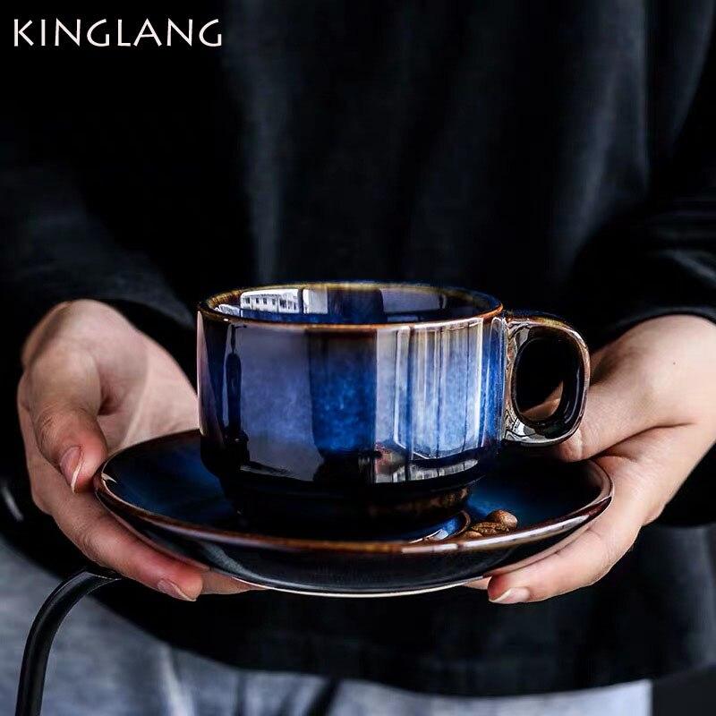 KINGLANG deep blue Ceramic Coffee Cup Saucer Set, breakfast cup, afternoon tea antique blue color Espresso coffee cup