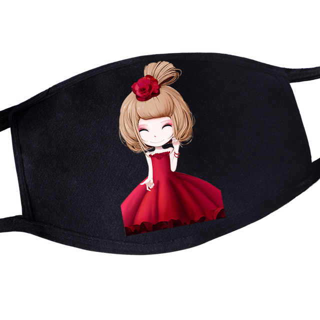 Newest Anime Cute Kawaii Girl Laughing Print Reusable Face Mask Pattern For Womens Girls Anti Dust Mouth Masks Kpop Maska Masque