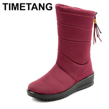 TIMETANGWarm zimowe buty z futerkiem dla kobiet 2019 ciepłe wodoodporne buty zimowe do połowy łydki śniegowe buty damskie buty damskie buty tanie tanio Flock Pasuje prawda na wymiar weź swój normalny rozmiar Okrągły nosek Zima Stałe Kliny Podstawowe Krótki pluszowe