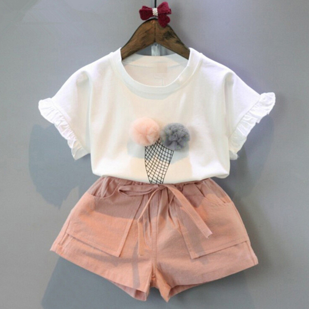TELOTUNY Children's clothing Toddler Kids Baby Girls Ice cream printing Short Sleeve Cotton T-Shirt Tops +Bowknot Shorts Set Jun 1