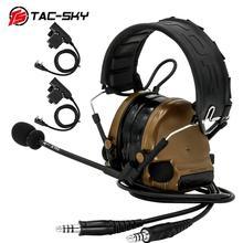 TAC SKY كومتاك III مزدوجة تمرير سيليكون سماعات الأذن الإصدار الحد من الضوضاء التكتيكية سماعة + 2 محول العسكرية كينوود U94 PTT