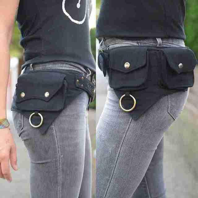 Saco de cintura feminina projetado para mulheres ao ar livre esportes dinheiro rua hip-hop viajar ou cinto estilo saco x4b9 3