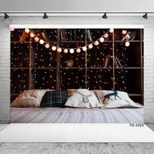 Fond de photographie personnalisé, cordes lumineuses, oreillers, pour chambre à coucher, bibliothèque, arrière-plan pour photographie de famille, pour enfants et bébés