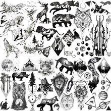 Etiqueta de tatuagem temporária de animais negros falsos realistas para homens mulher geométrica lobo espaço exterior tatoo decalque temporário para crianças