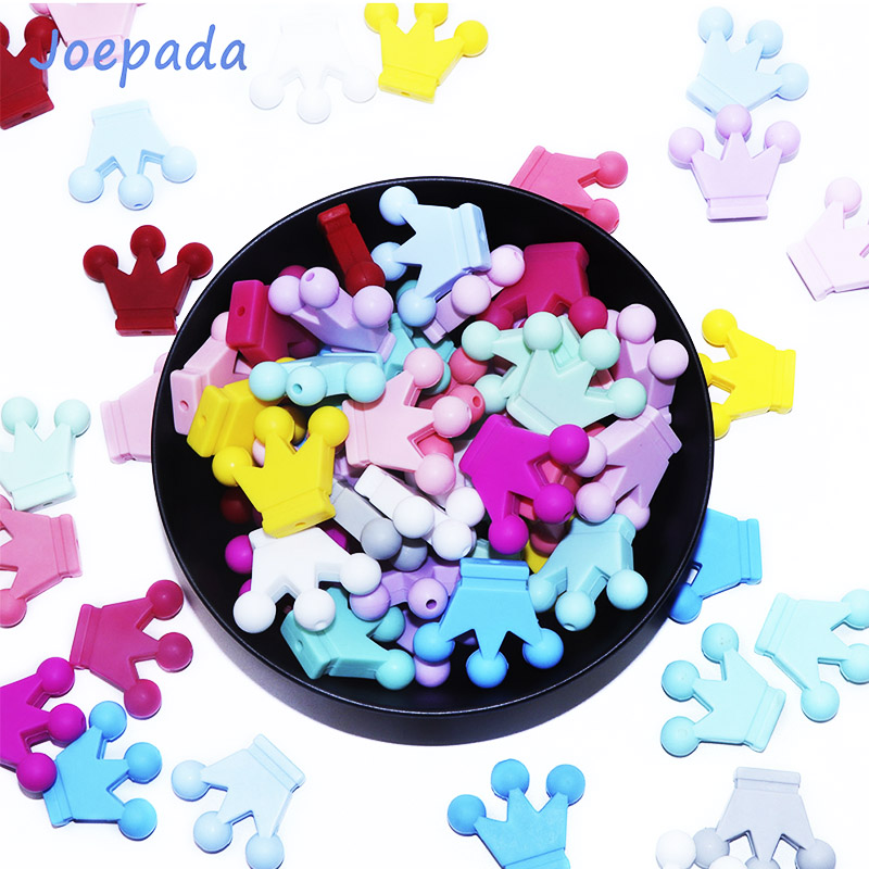 Joepada 10pcs Silicone  Beads Crown Baby Teether Silicone Chew Necklace Pacifier Clips Chain Beads DIY Shower Toy Beads BPA FREE