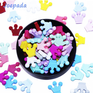 Joepada 10pcs Silicone Beads Crown Baby Teether Silicone Chew Necklace Pacifier Clips Chain Beads DIY Shower Toy Beads BPA FREE(China)