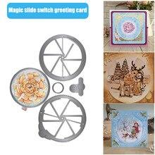 Janela mágica slider cartão de corte dados 5 pçs conjunto slot spin quadros do vintage corte dados selos diy scrapbooking cartões scrapbook