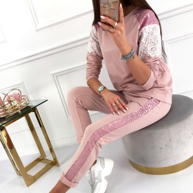 2020 Winter Spring Long Sleeve Tracksuit Sportswear Office Phoenix Sequined Sweatshirt+ Pant 2pcs Women's Set Outfits Suit