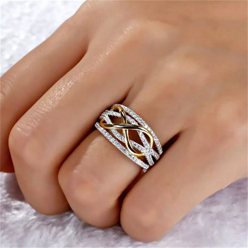 Bowknot Sparkly Crystal Ring Two Tone Color Girls Tide Party Gifts