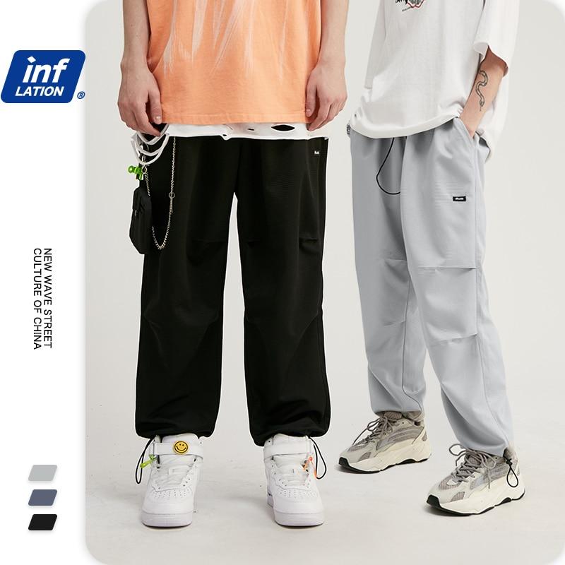 INFLATION 2020 Collection Men Cargo Pants Skater Fit Men Thin Cargo Pants Elastic Waist Men Streetwear Track Pants 93404W