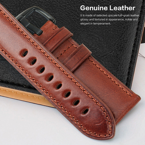 Image 2 - MAIKES Genuine Leather Watch Strap 20mm 22mm 24mm Men Watchband With Stainless Steel Buckle Watch band For Casio Fossil
