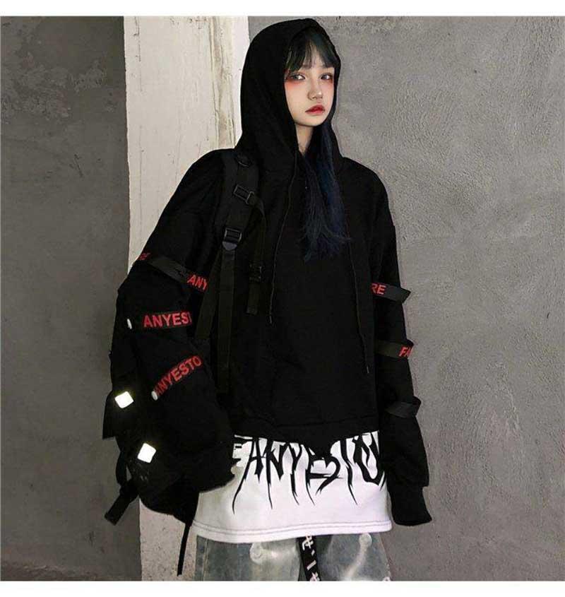 NiceMix Hip Hop Hoodie Women Korean Loose Tops Female Casual Autumn Long Sleeve Black Punk Hoodie Streetwear High Street Hoodies