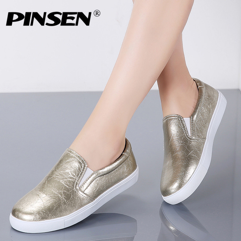 PINSEN New 2020 Autumn Loafers Women Flats Shoes Genuine Leather Casual Shoes Woman Slip-on Ballerina Flats Shoes Ladies Shoes