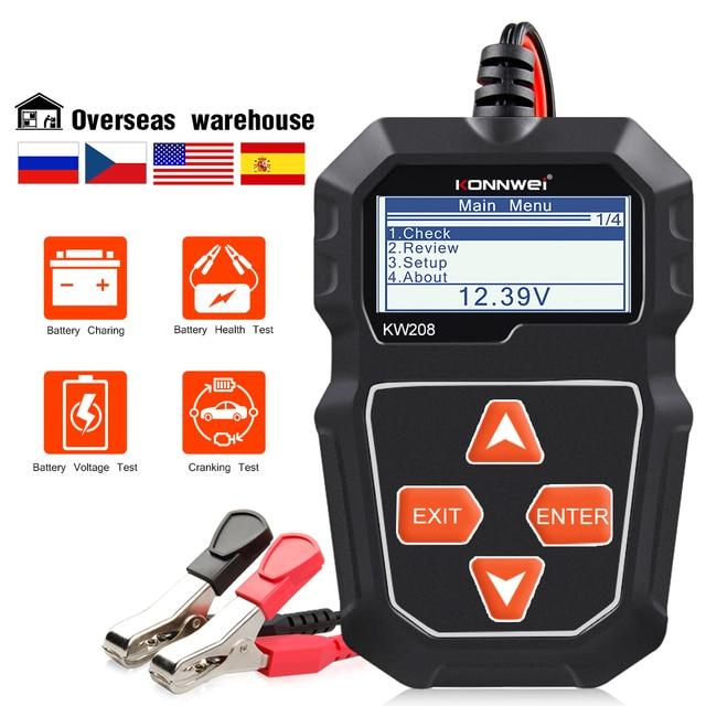Konnwei KW208バッテリーテスター車デジタル12v 100 2000CCAクランキング充電システムテストツール自動車バッテリー容量テスター