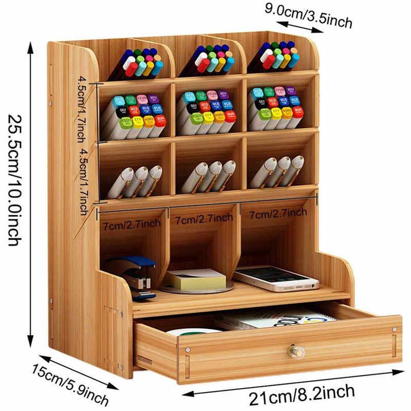 木製デスクオーガナイザー多機能 DIY ペンホルダーボックスデスクトップ静止ホームオフィスサプライ収納ラック