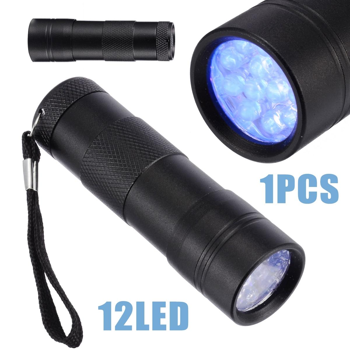 UV GEL Curing Light Black Professional Light 12 LED Ultraviolet Flashlight 395nm Torch For UV Resin Craft Battery