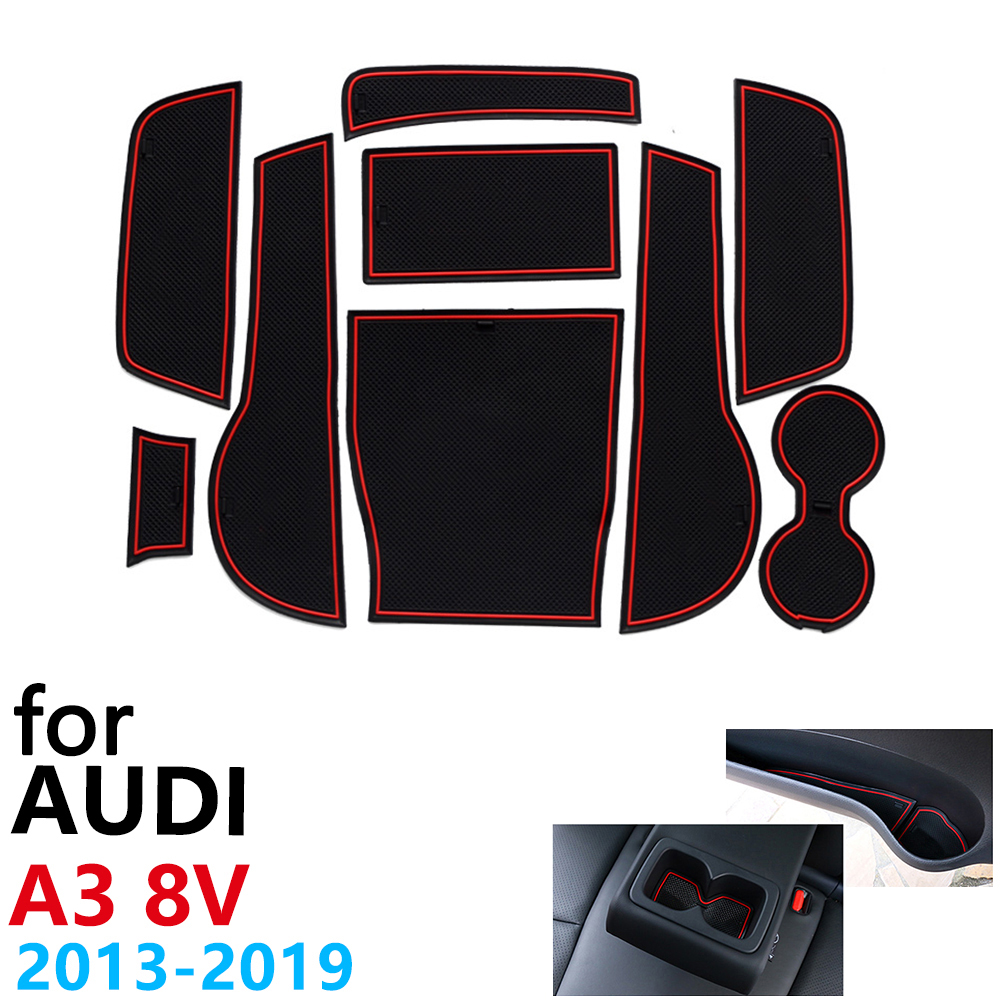 Anti-Slip Rubber Cup Cushion Door Groove Mat for Audi A3 8V S3 RS3 RS 3 S Line 2013~2019 2015 2017 Accessories mat for phone image