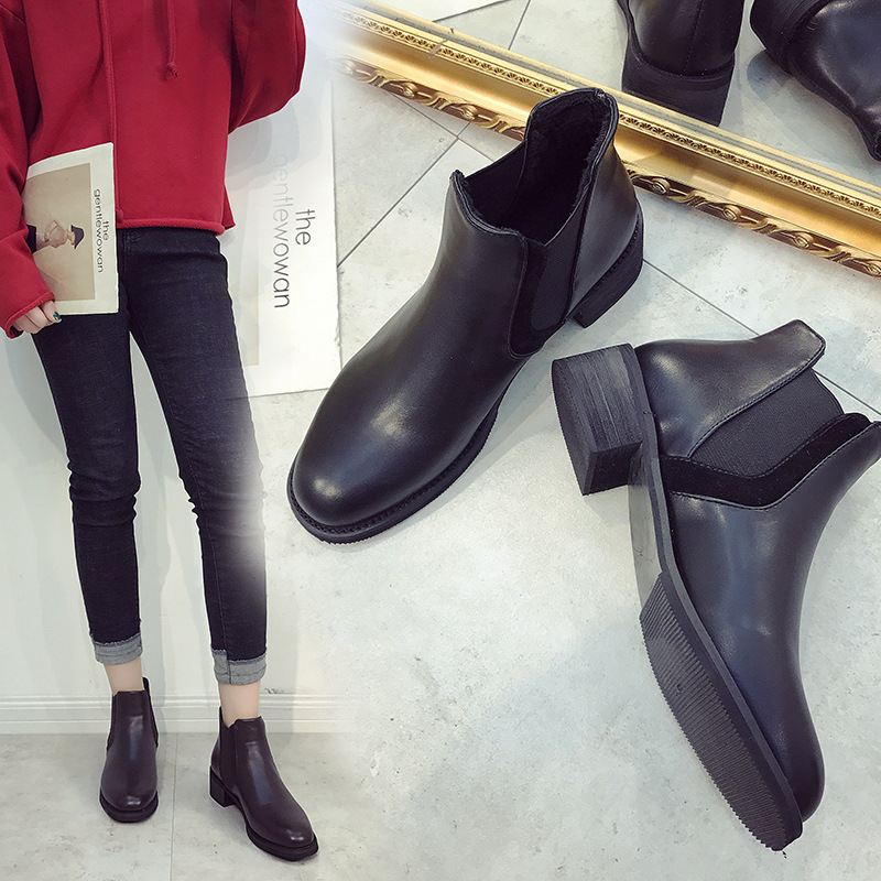 Round Toe Fashion PU Retro Women Ankle Boots Med Platform Solid Vintage Chelsea Boots Square Heel Casual Slip-On Big Size Shoes