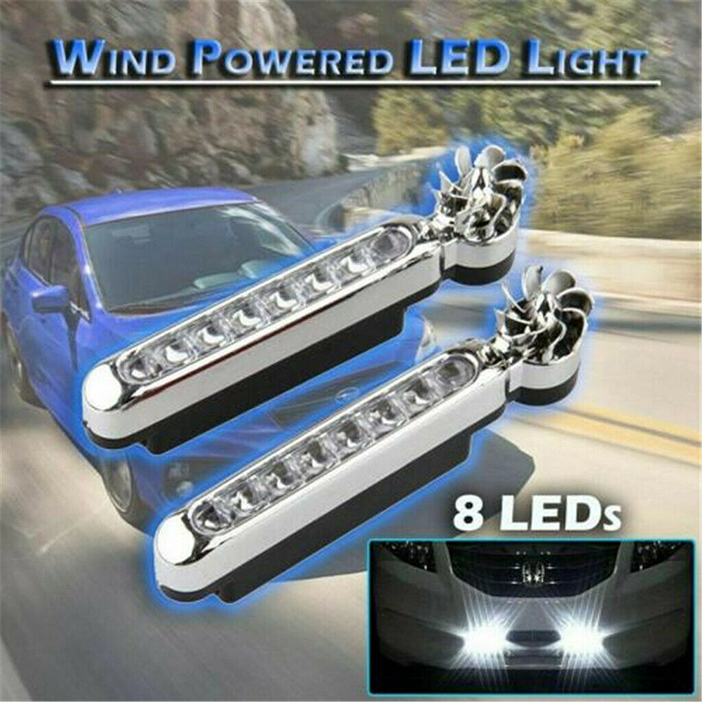 dropshipping 1 Pair Wind Driven Car Front Lights with Fan Rotation for Car Fog Warning 8x LEDs OE88