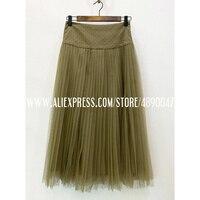 2020 spring summer retro skirt women's high quality tulle mesh gown High waist skirt pleated Mesh skirt Elegant skirt Lined silk