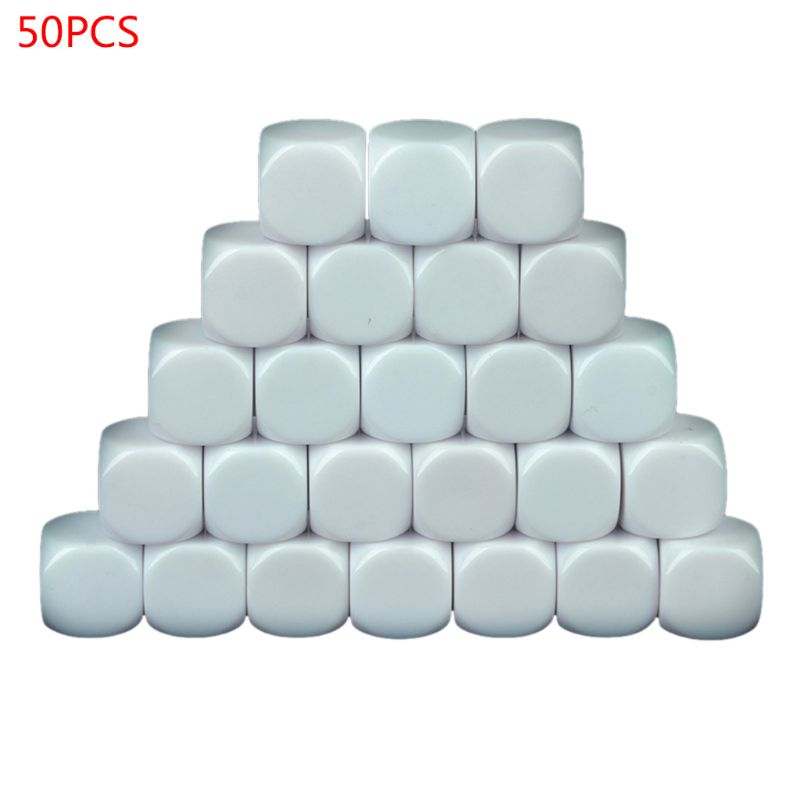 16MM Blank White Dice, Pack Of 50