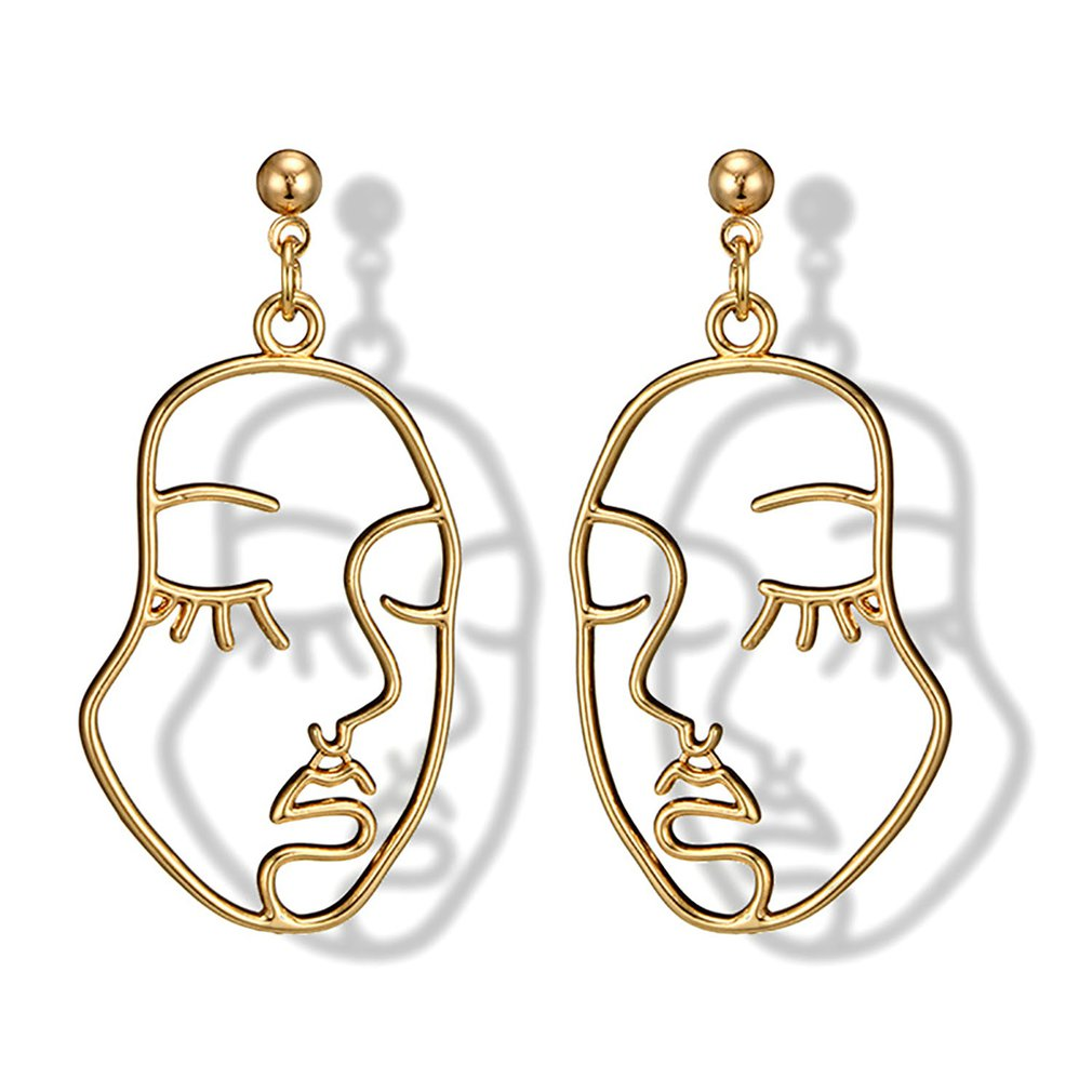 Abstract Hollow Out Face Dangle Earring Unique Design Girls Statement Long Drop Earrings Jewelry Earrings boucles d'oreilles Hot