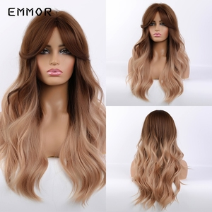 Emmor Long Brown Blonde Ombre Synthetic Wigs with Bangs Layered Wavy Heat Resistant Hair Cosplay Daily Wig for White Black Women(China)