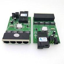3 pary FTTH światłowód gigabitowy optyczny Media konwerter 4 Port 1000 mb/s jednomodowy pojedynczy światłowód SC 20KM płytka obwodów drukowanych włącznik Ethernet