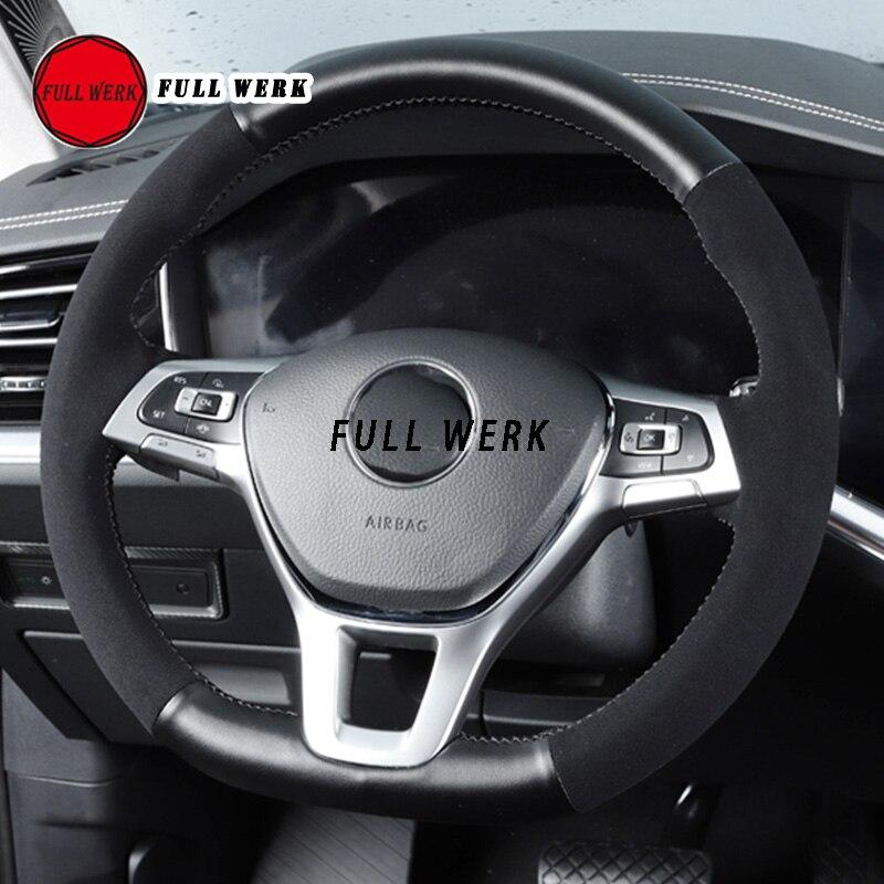 1 pièce couverture de volant de voiture en cuir polaire couture à la main enveloppement protecteur pour Touareg 19 accessoires d'intérieur antidérapant noir