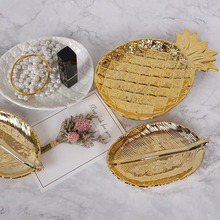 Gold Leaf Ceramic Plate Dish Porcelain Candy Trinket Jewelry Fruit Serving Tray Storage Crockery Tableware