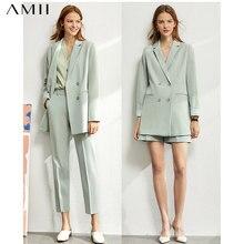 Amii minimalizm bahar takım elbise kadın resmi bayan Blazer kadın, dantel v boyun tankları, yüksek bel kadın pantolonları kadın şort 12060909