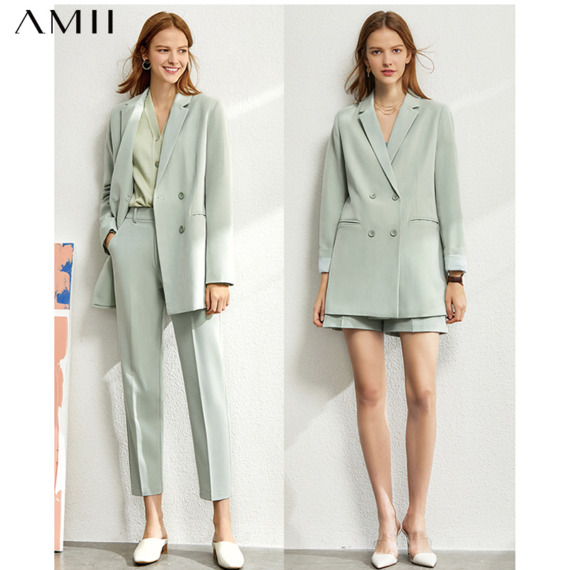 Amii Minimalism set for women Autumn 4 piece set Solid blazer,tanks,high waist pants sold separately women's costumes 12060909(China)