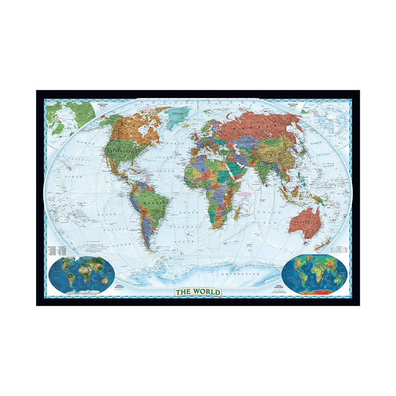 The World Physical Map With World Land Cover And Landforms 150x100cm Waterproof World Map