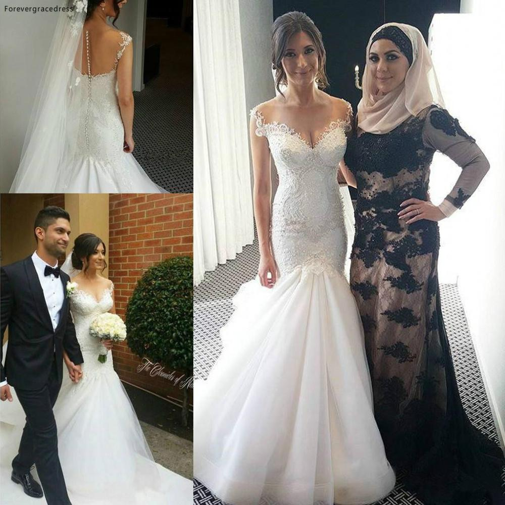 Vintage Dubai Mermaid Wedding Dress Saudi Arabia See Through Button Back Lace Appliques Formal Bridal Gown Plus Size Custom Made