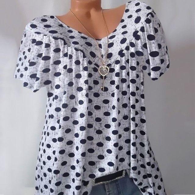 S-5XL Plus Size Tops Women Blouse Summer Tops Casual V Neck Short Sleeve Loose Shirt Dot Printed Blouse Blusas Mujer De Moda 3