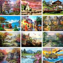 Gatyztory 60 × 75cm paisagem casa diy pintura por números tintas acrílicas desenho da lona kits pintados à mão presente decoração casa