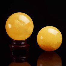 40 mm naturalna żółta kryształowa kula Fengshui piłka biuro Fengshui akcesoria wolna podstawa