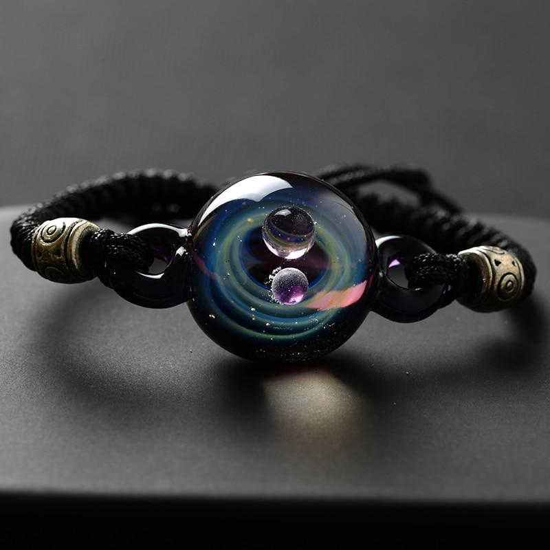 BOEYCJR, горячая Распродажа, Вселенная, планеты, стеклянные браслеты из бисера и браслеты, модные ювелирные изделия, галактика, солнечная система, браслет для женщин, Рождество - Окраска металла: 5