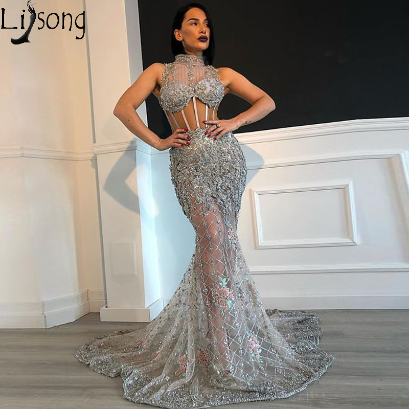 Silver See Through Mermaid   Prom     Dresses   Sexy High Neck Lace Appliques Beaded Evening   Dress   Long Sheer Corset robe de soiree