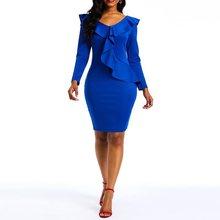Blue Party Dress Women 2019 Autumn Long Sleeve Ruffles Bodycon Slim Dresses African Office Lady Elegant Sexy V Neck Club Dress women lady sexy fashion round neck bodycon dress green blue
