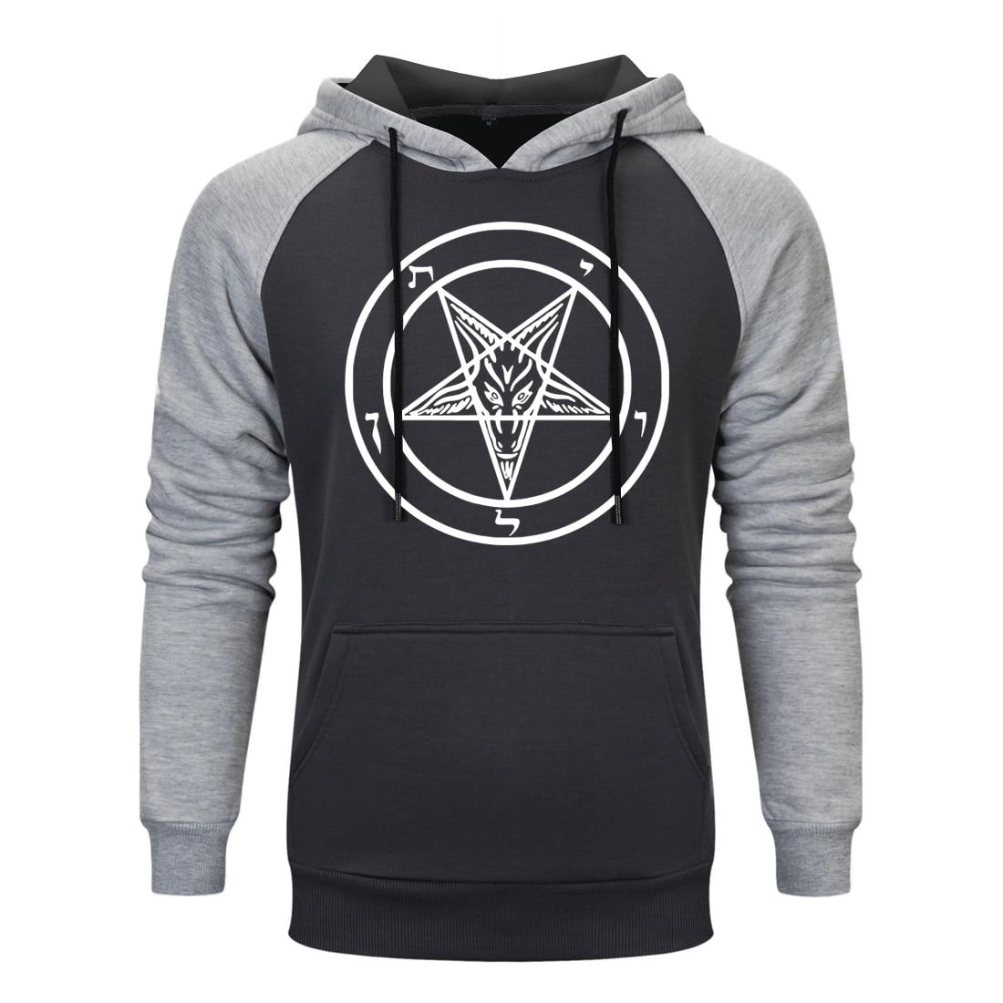 Spring Autumn Pentagram Gothic Occult Hooded Men Satan Vintage Print 2020 New Sweatshirts Hip Hop Fahsion Warm Raglan Clothing
