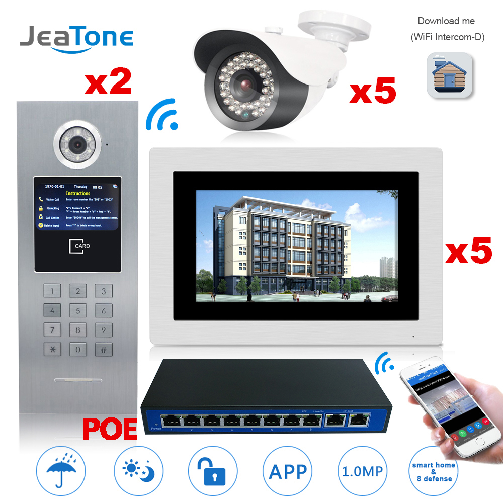 7'' Touch Screen Large Building WIFI IP Video Door Phone Intercom POE Switch 2to5 Access Control System Support Password/IC Card